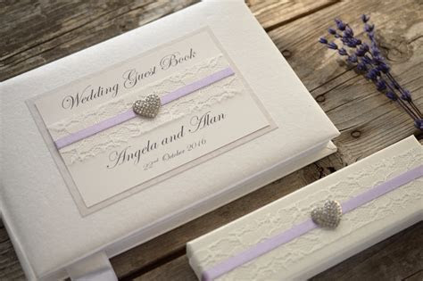 Ivory Personalised Wedding Guest Book and Pen Set ?Lace