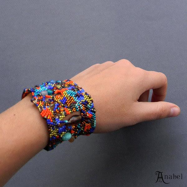 купить широкий браслет из бисера изделия ручной работы сайт
