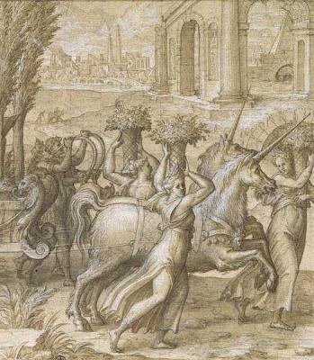 Nicolo dell'Abate sketch - The Unicorn Chariot (detail)
