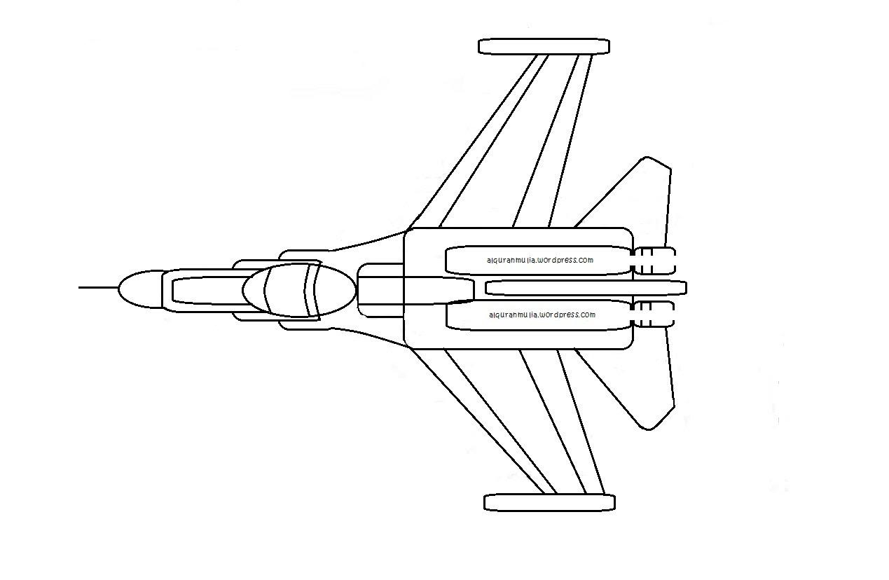 Mewarnai Gambar Pesawat Tempur2 Anak Muslim Alquranmulia Sketch