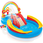 Intex Inflatable Play Center Rainbow Ring Kids Pool Slide Water Sprayer Summer Game