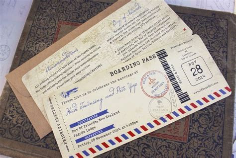 images of the back side of boarding pass invitations