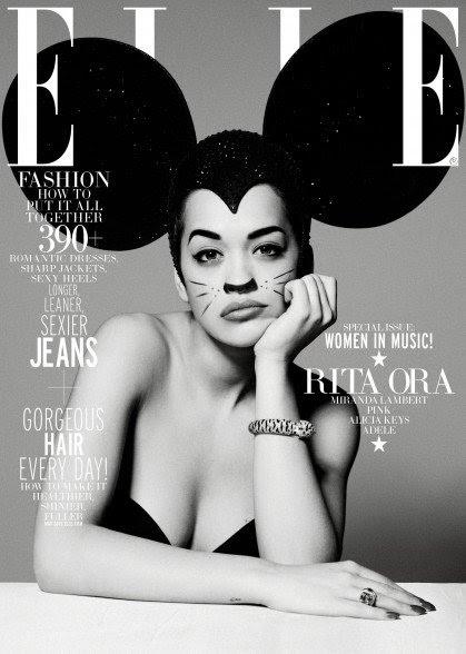 """Hablando de Disney, que he descrito muchas veces cómo orejas de Mickey Mouse son """"códigos"""" para MK control mental ya que se refieren a la """"Programación de Disney"""".  Aquí está Rita Ora en la portada de ELLE con orejas gigantes, y no mirar demasiado contento por él."""