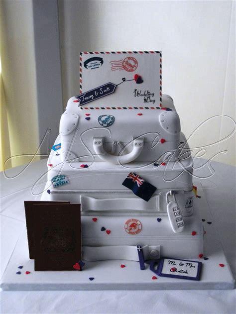 A three tier Suitcase design wedding cake with edible