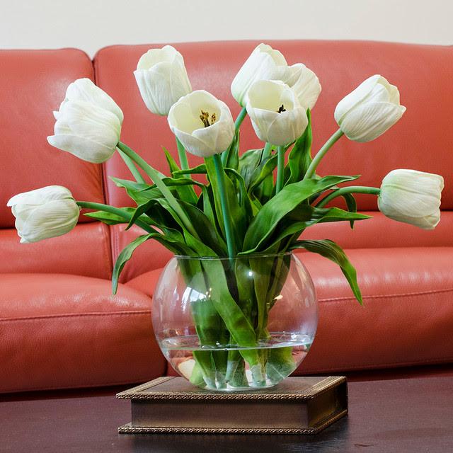 Real Touch White Tulip Faux Arrangements \u0026 Centerpieces for Home Decor  Contemporary