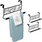 "Evelots 2 Over Cabinet 9"" Towel Bars, Black Metal, Kitchen Bathroom"