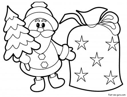printable christmas santa claus with sack pack coloring pages  free printable coloring pages