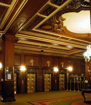 Decorative Ceilings and Elevator Bank at the Omni Parker House