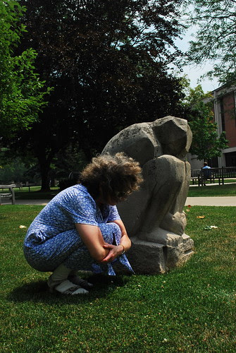 Meditating with the statue