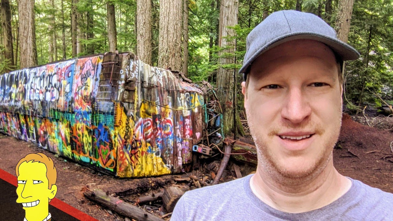 Abandoned wreckage of train cars covered in grafitti at Whistler Train Wreck