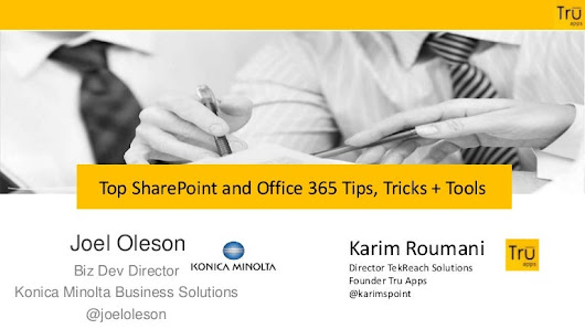 SharePoint and Office 365 Power User Tips Tricks and Tools