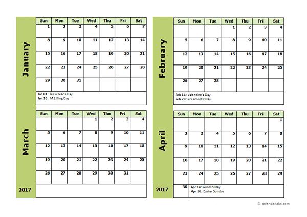 Printable 4 Month Calendar 2017