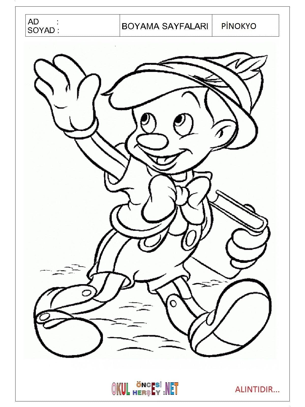 Pinokyo Boyama Sayfaları
