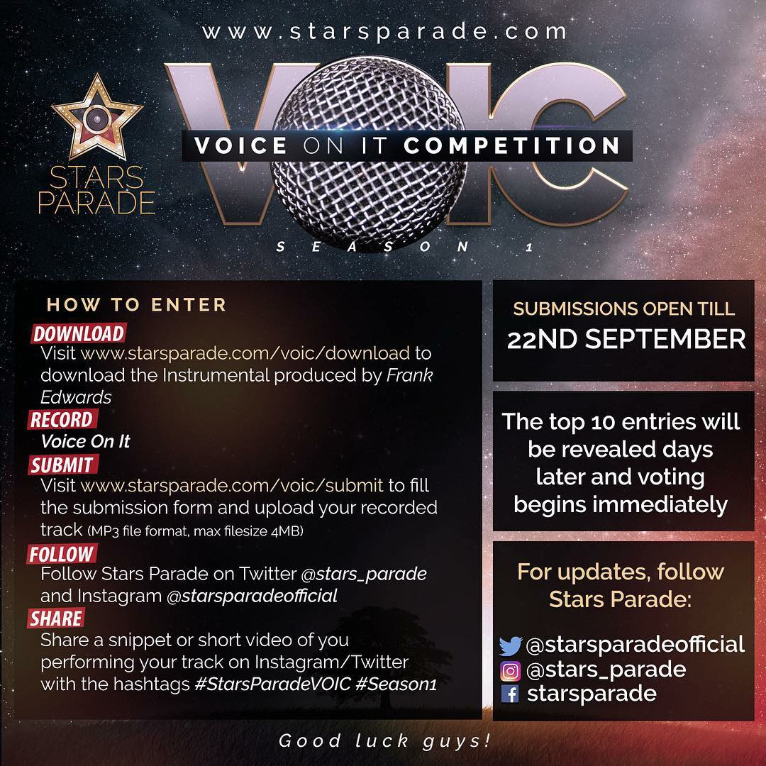 Update On StarsParade!!! Voice On It Competition VOIC Season 1,
