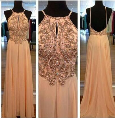 Sexy Spagetti Long Prom Dress Chiffon Straps Evening Party Gowns With Beadings Crystal