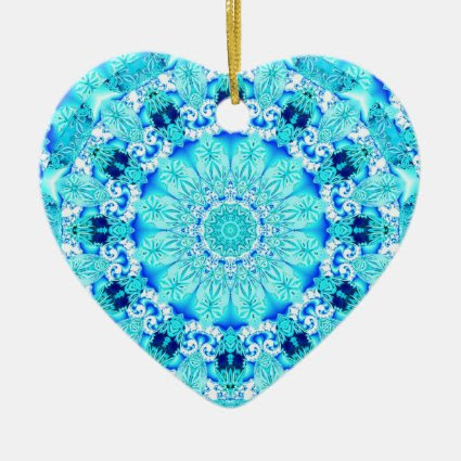 Aqua Lace, Delicate, Abstract Mandala Christmas Ornament