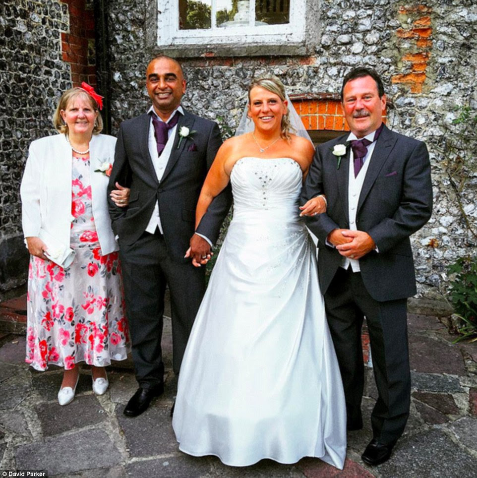 Rebecca and Rajendran Asekaran (pictured) went ahead with their big day and only found out about the Shoreham Airshow disaster which claimed the lives of 11 people after the ceremony