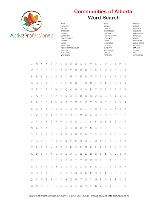 Alberta Communities Word Search Puzzle