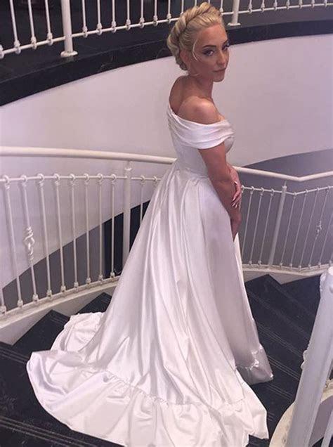 Simple A line Off the shoulder White Long Wedding Dress