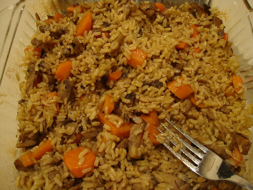 brown rice pilaf with mushrooms from the Flat Belly Diet cookbook