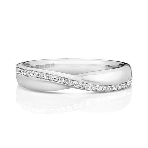 Womens 9ct white Gold crossover Diamond Wedding Ring