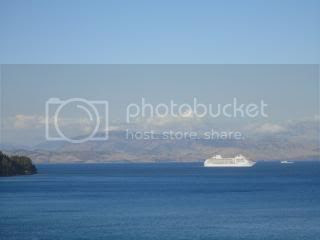 Cruise ships goes by