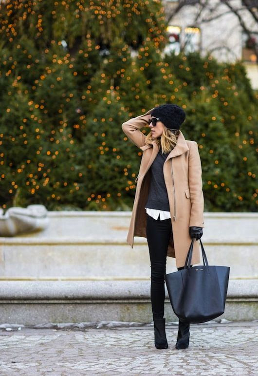 OOTD | Camel coat, oversized bag, ankle boots shirt under jumper combo