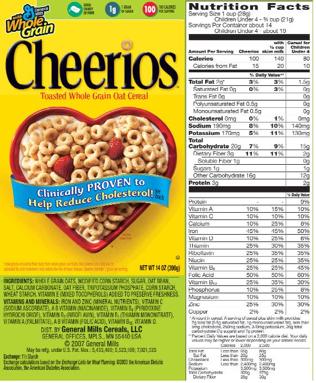 30 Multigrain Cheerios Nutrition Label