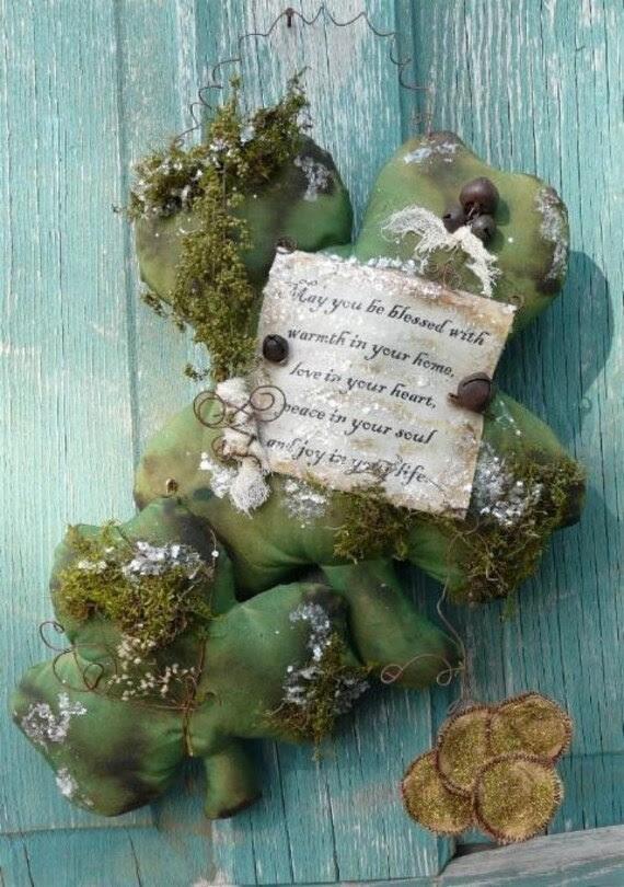 Shamrock Blessing E PATTERN saint patrick's day irish clover primitive st grubby pdf