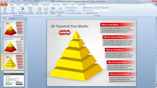 3d Pyramid Four Blocks PowerPoint Template