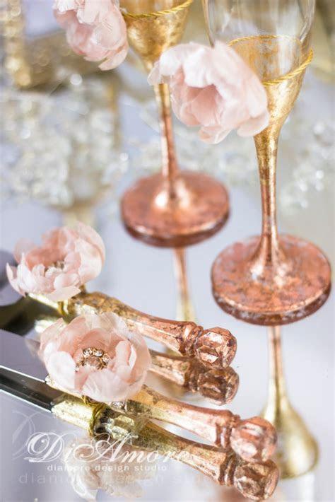 Rose Gold Cake Server Set Rose Gold Champagne Flutes Rose