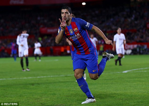 Suarez produced his trademark celebration after scoring his 11th goal of the season