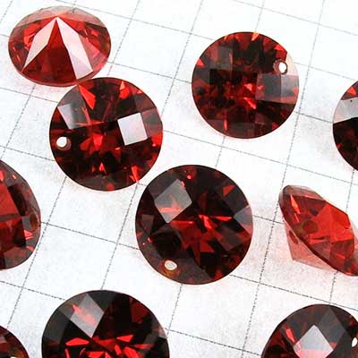 """rt001-05 Cubic Zirconia Drilled Gems - 10 mm Faceted Round Cut - Padparadscha (1) - <font color=""""#FF0000"""">Discontinued</font> - 70% off!"""