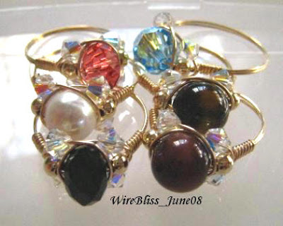 Wire Wrap Sparkly Crystal Ring