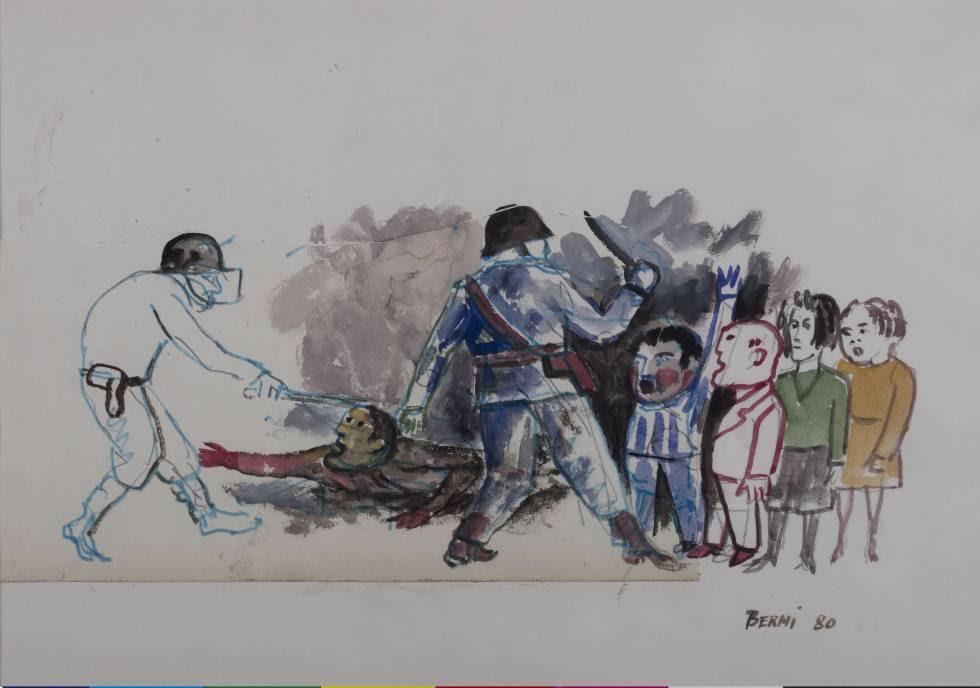Obra con tinta, acuarela y collage sobre papel, pintada por Berni en 1980.