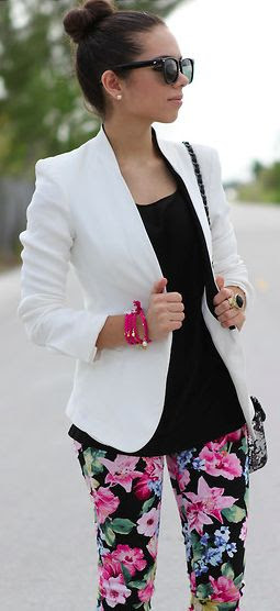 White blazer and black floral pants - looks good (:
