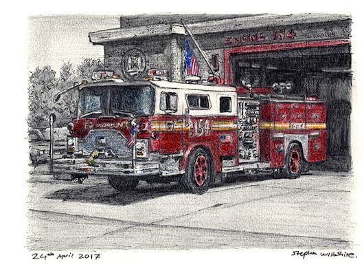 FDNY 154 1988 Mack CF Ward 99 Engine - Original drawings, prints and limited editions by Stephen Wiltshire MBE