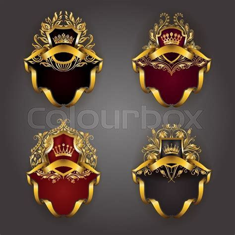 Set of golden royal shields for graphic design on
