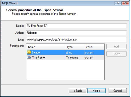 forex ea parameters