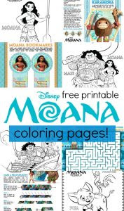 disney's moana coloring pages and activity sheets printables
