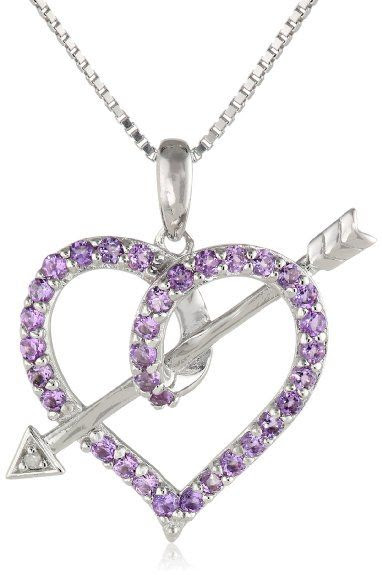 "Sterling Silver Amethyst and Diamond-Accented Love's Arrow Pendant Necklace, 18"": Jewelry"