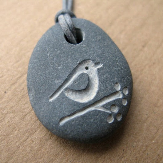 bird and berries beach pebble necklace by birdahoy on Etsy