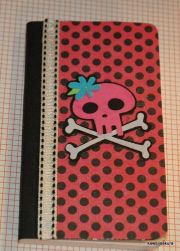 Mini Altered Notebook with Hot Pink Skull
