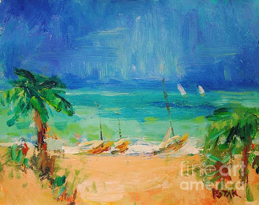 Beach And Sea Painting With Sailboats And Palm Trees by Russ Potak