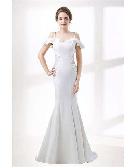Trumpet Fitted Corset Wedding Dress With Off Shoulder