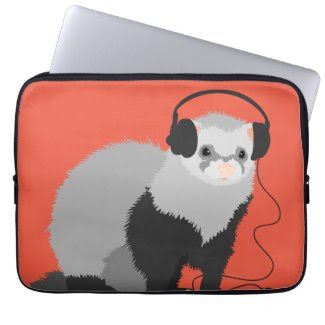 Funny Music Lover Ferret Laptop Sleeves