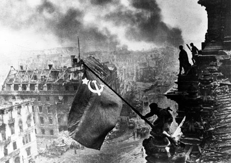 Russians raising red flag over Berlin 1945 AIRBRUSHED