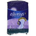 Always Ultra Thin Size 5 Extra Heavy Overnight Pads With Wings Unscented 34count (pack Of 34)
