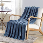 """Plazatex V Collection Embossed Pattern Soft & Cozy Flannel Throw Blanket - 50x60"""" - 50x60"""" Oxford Blue Embossed"""