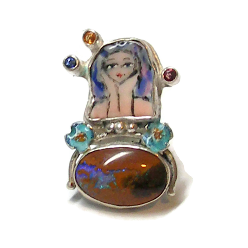 Goddess Art Ring with Boulder Opal and Sapphires | Laura Stamper Designs/Art jewelry/Minnesota